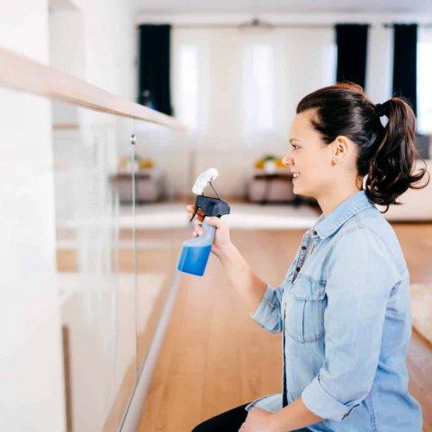Close up portrait of modern woman doing housework around the house. Woman cleaning glass with detergent and cloth